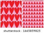 cute hand drawn heart seamless... | Shutterstock .eps vector #1665859825