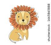 cute doodle hand drawn orange... | Shutterstock .eps vector #1665865888