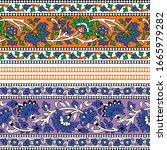 colorful indian kalamkari... | Shutterstock .eps vector #1665979282