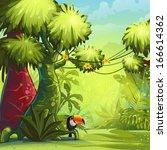 illustration sunny morning in... | Shutterstock .eps vector #166614362