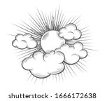 sun with sun beams and cloud... | Shutterstock .eps vector #1666172638