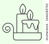 Night Candle Thin Line Icon....