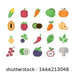 set of icons of fresh fruits... | Shutterstock .eps vector #1666213048
