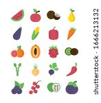 set of icons of fresh fruits... | Shutterstock .eps vector #1666213132