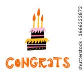 congrats orange lettering and a ... | Shutterstock .eps vector #1666223872