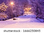 Night Evening Winter Snow Park...