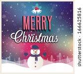 merry christmas vintage poster. ... | Shutterstock .eps vector #166625816