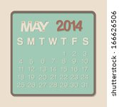 2014 calendar may paper design... | Shutterstock .eps vector #166626506