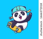 cute panda play skateboard...   Shutterstock .eps vector #1666372018