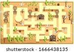map desert sahara with path and ...