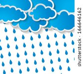 blue clouds with rain drops on... | Shutterstock .eps vector #166646162