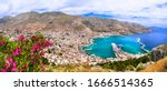 Travel in Greece - beautiful Kalymnos island, Dodecanese. view point from agios Savos monastery for Pothia capital town