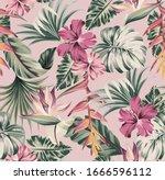 vector seamless pattern exotic  ... | Shutterstock .eps vector #1666596112