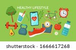 healthy lifestyle concept.... | Shutterstock .eps vector #1666617268