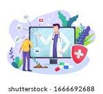 vector illustration online... | Shutterstock .eps vector #1666692688