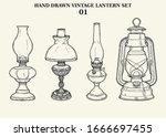Vintage Lantern Vector Hand...