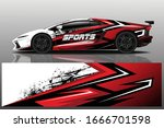 sports car wrapping decal design | Shutterstock .eps vector #1666701598