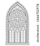 beautiful gothic stained glass... | Shutterstock .eps vector #1666702978