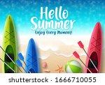 hello summer vector banner...   Shutterstock .eps vector #1666710055