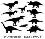 dinosaur silhouette. icon... | Shutterstock .eps vector #1666759975