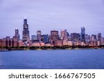 Chicago Skyline Illuminated At...