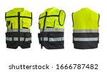 Small photo of Safety Vest Reflective shirt beware, guard, mind, traffic shirt, safety shirt, rescue, police, security shirt protective jacket isolated on white background.