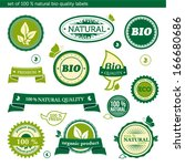 set of 100   natural bio... | Shutterstock .eps vector #166680686