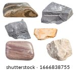 set of various mudstone rocks isolated on white background