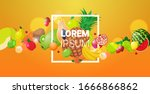 various fresh juicy fruits... | Shutterstock .eps vector #1666866862