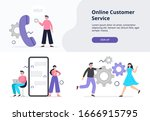 landing page on online support... | Shutterstock .eps vector #1666915795