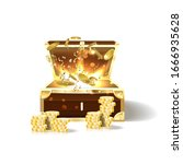 wooden treasure chest loaded... | Shutterstock . vector #1666935628