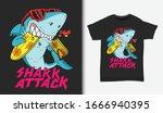 shark surfing attack... | Shutterstock .eps vector #1666940395
