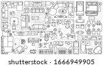floor plan icons set for design ... | Shutterstock .eps vector #1666949905