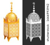 antique forged arabian lantern... | Shutterstock .eps vector #1666993942