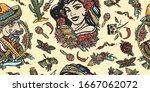 mexican seamless pattern.... | Shutterstock .eps vector #1667062072