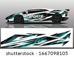 sports car wrapping decal design | Shutterstock .eps vector #1667098105