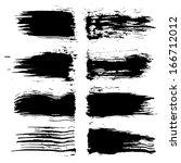 set of grunge brush strokes.... | Shutterstock . vector #166712012