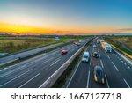 Colorful Sunset At M1 Motorway...