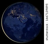 Planet Earth At Night  View Of...