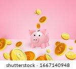 3d golden coins falling into a... | Shutterstock .eps vector #1667140948