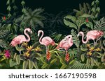 border with pink flamingo in... | Shutterstock .eps vector #1667190598