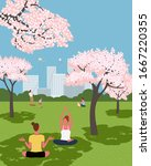blooming cherry trees city park ... | Shutterstock .eps vector #1667220355