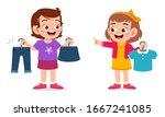 happy cute little kid girl... | Shutterstock .eps vector #1667241085