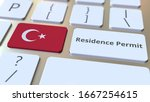 Residence Permit Text And Flag...