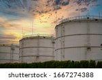 Big industrial oil tanks in a...