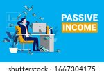 passive income. man relaxing in ... | Shutterstock .eps vector #1667304175