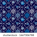 roses and flowers pattern with... | Shutterstock .eps vector #1667306788