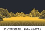 abstract wireframe background.... | Shutterstock .eps vector #1667382958