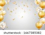 falling bright shiny golden... | Shutterstock .eps vector #1667385382
