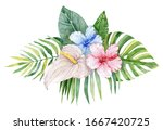 tropical lush bouquet with... | Shutterstock . vector #1667420725